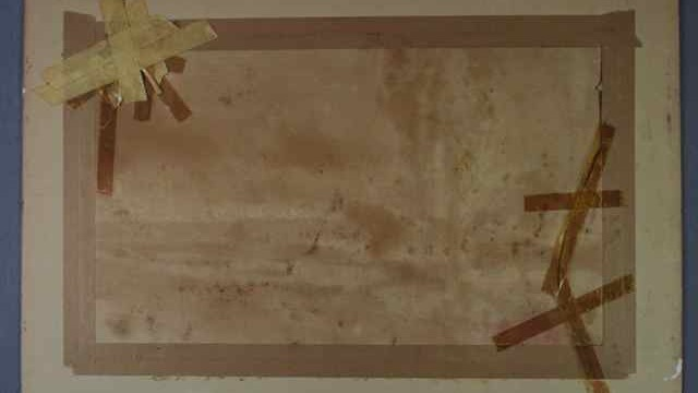 tape and water damage to watercolor on paper. Spicer Art Conservation repaired, restored, conserved and reframed the damaged watercolor.