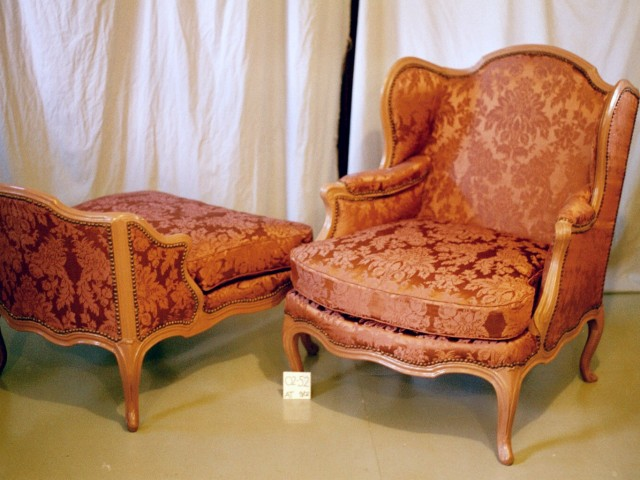 Textile Conservation - chair from a museum collection after conservation treatment and re-upholstery.