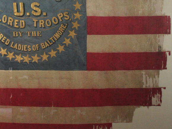 Historic Flag conservation, restoration, repair, civil war, textile conservator, silk, USCT