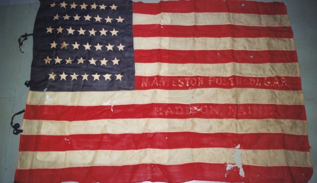 Textile Conservation of historic flag at Spicer Art Conservation, experts in the care and preservation of flags and banners.