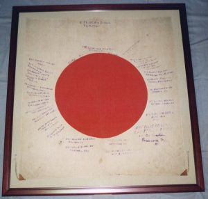 Japanese Flag from WWII conserved and mounted by textile conservator and flag restoration expert Gwen Spicer of Spicer Art Conservation located in upstate NY and serving clients in the United States and abroad with historic flag conservation, restoration, repair and framing and mounting for display