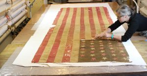 Conservation of Civil War Flag, National Park Service Wilson's Creek Battlefield, Republic Missouri, repair and restoration of historic battle flags, flag and banner conservation, textile conservator, Spicer Art Conservation