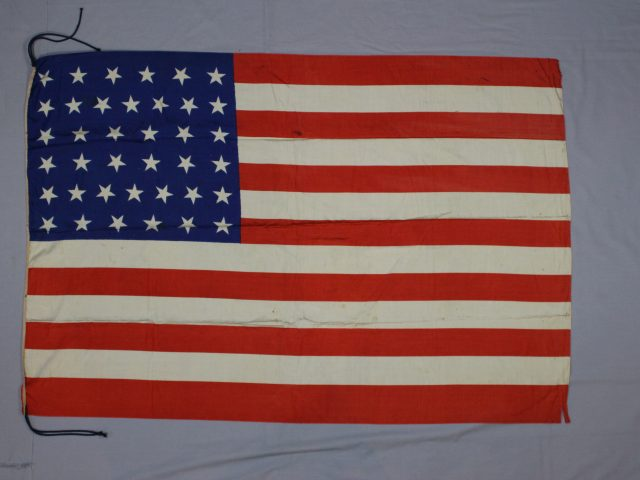 38-star flag conserved and framed by textile conservator and flag expert Gwen Spicer of Spicer Art Conservation