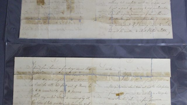 Historic document repair, paper artifact, conservation of historic revolutionary war letter, letter damaged from folding and tape, paper conservator Gwen Spicer repairs historic documents, Spicer Art Conservation