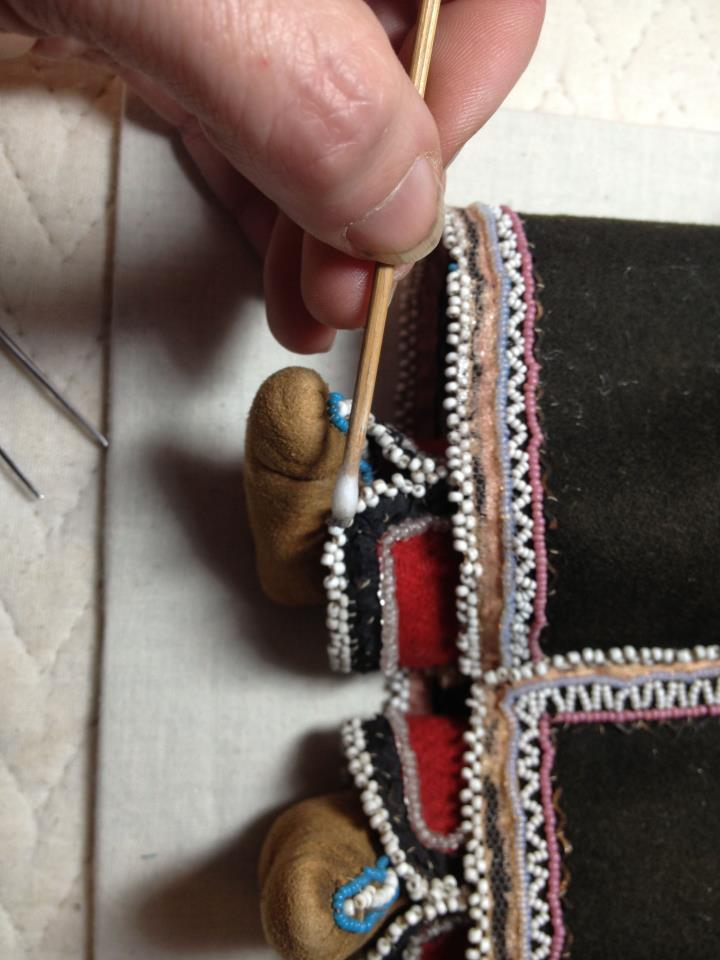 textile conservation, object conservation , art conservator, Iroquois beaded object, doll, NYS museum collection