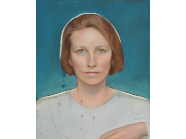 Edna St Vincent Millay portrait before paper conservation treatment services performed by professional conservator Gwen Spicer of Spicer Art Conservation, LLC in upstate New York