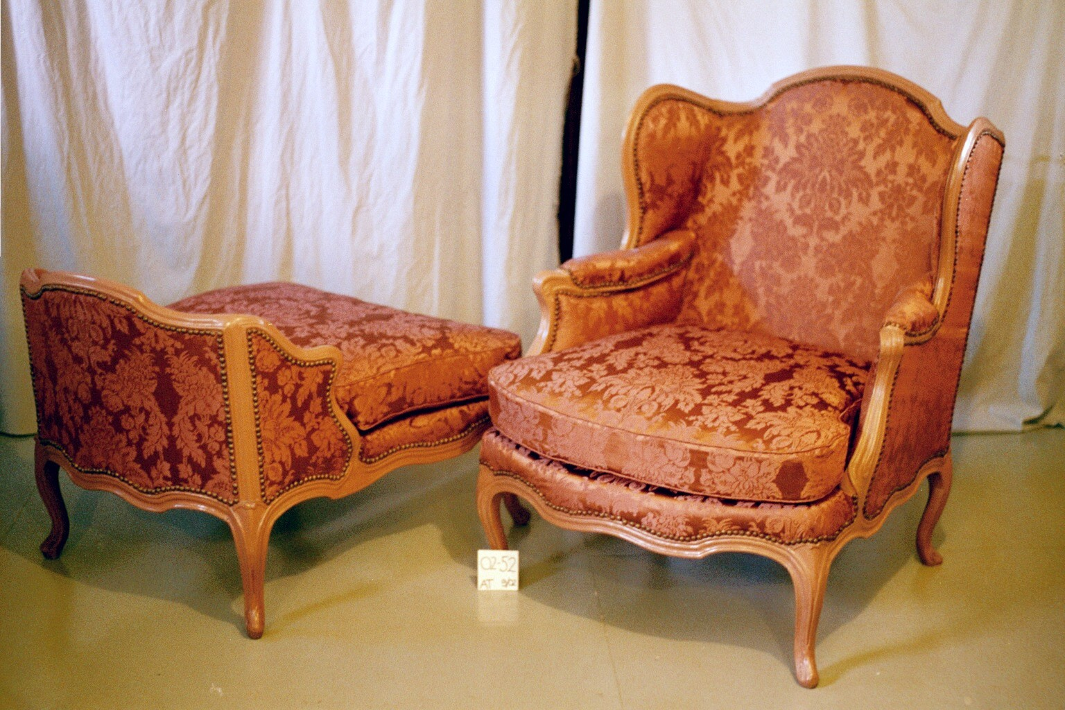 After Textile Conservation - A Louis XV Bergere a la Reine after textile conservation, textile conservator, antique historic textile preservation repair chair from a museum collection after conservation treatment and re-upholstery by textile conservator, Gwen Spicer of Spicer Art Conservation expert in textile repair preservation and conservation.