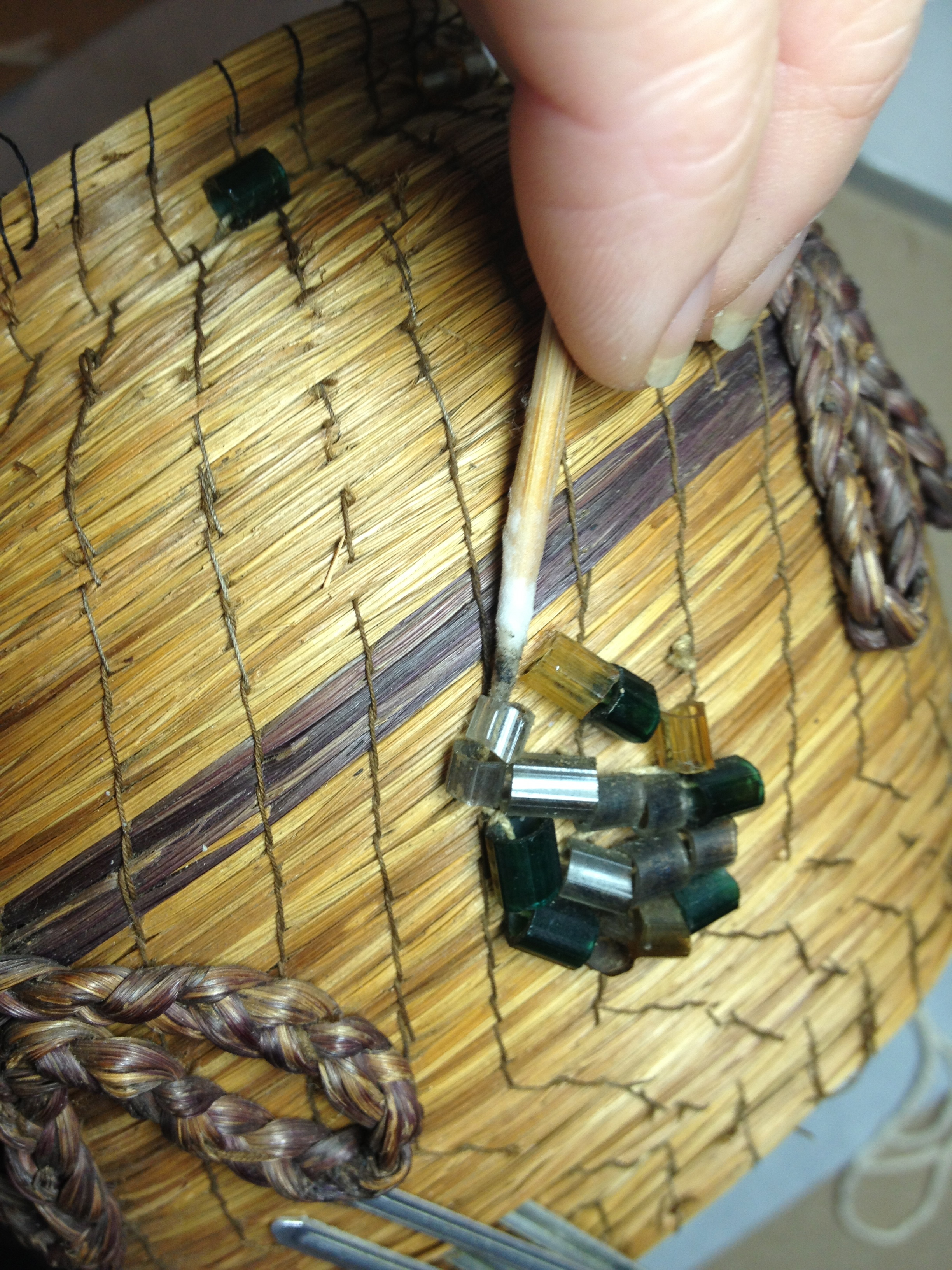 Native American sweetgrass basket with beads cleaned during conservation by Spicer Art Conservation, expert care of historic and antique objects and artifacts.