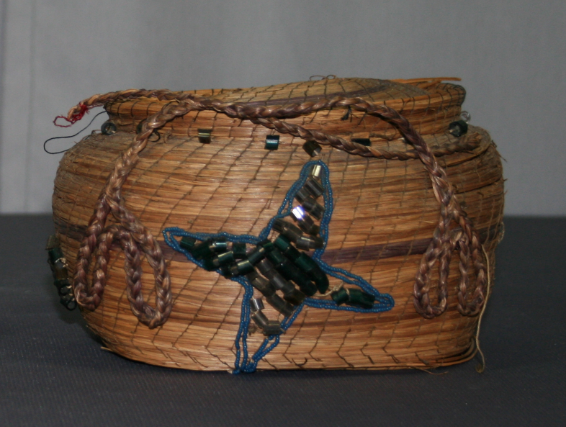 Object conservation, restoration, repair, native american basket, historic basketry, baskets with glass beads, moravian