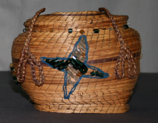 Object conservation, historic basket, moravian, beaded sweetgrass basket, repair and restoration of art and antiques