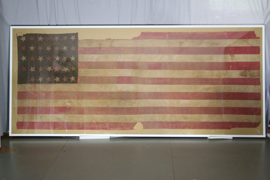 29th Missouri flag after treatment and mounting. The flag is a civil war flag owned by NPS Wilson's Creek National Battlefield