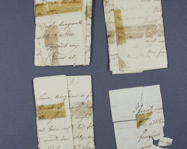 Paper conservation of historic documents, revolutionary war letter, tape removal from fragile paper, paper conservator, damaged paper, iron gall ink, Spicer Art Conservation in upstate New York, Albany area