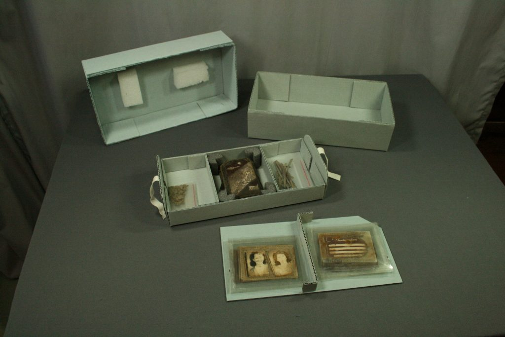 Custom made storage box, archival boxes, storage, museum collection storage methods, archival blue board, making boxes